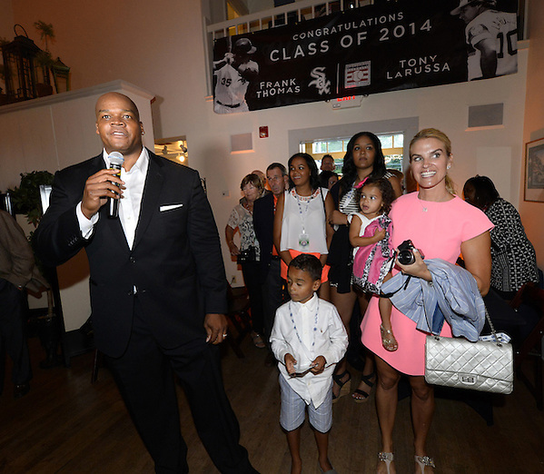 COOPERSTOWN, NY - JULY 26:  2014 Hall of Fame inductee Frank Thomas greets invited guests during a private reception held at Templeton Hall in Cooperstown, New York on July 26 2014. (Ron Vesely)