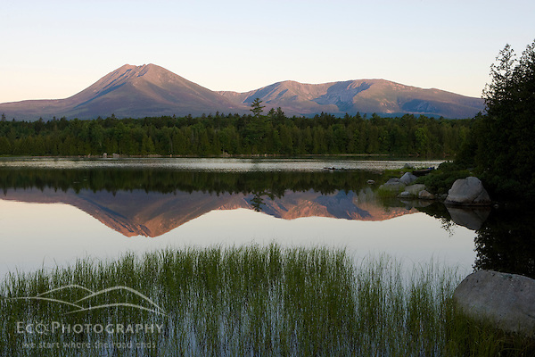Conserving the Northern Forest: Mount Katahdin as seen in the early morning from Katahdin Lake in Maine's Baxter State Park. (Jerry and Marcy Monkman)