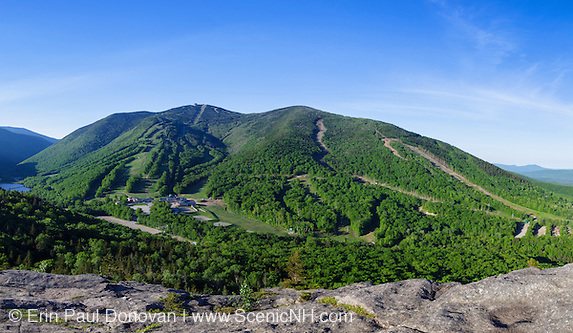 Panoramic of Cannon Mountain from Bald Mountain in the White Mountains of New Hampshire USA during the spring months. This image consists of seven images stitched together.