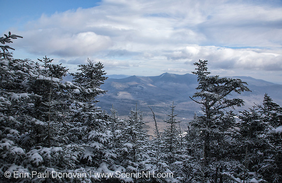 Scenic views from the summit of  Mount Tecumseh during the winter months in the White Mountains, New Hampshire.