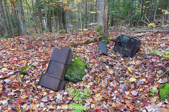 Remnants (stove pieces) of the abandoned Woodstock & Thornton Gore Railroad in Livermore, New Hampshire.