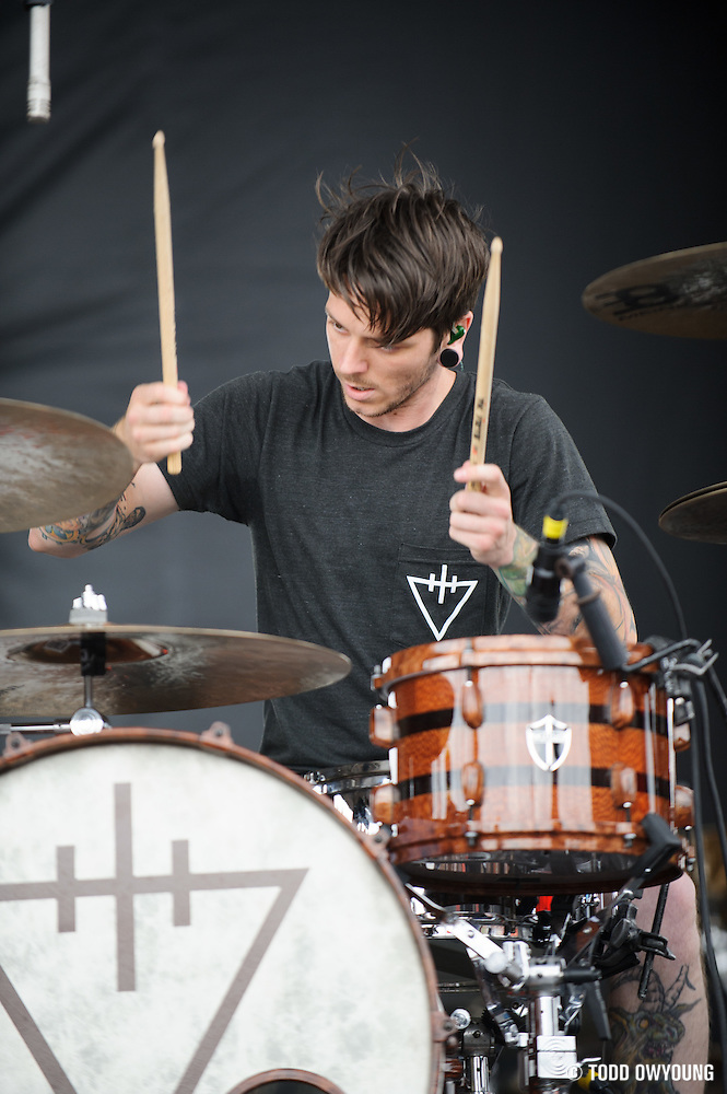 The Devil Wears Prada performing at Mayhem Fest 2012 at Verizon Wireless Amphitheater in St. Louis, Missouri on July 20, 2012. (Todd Owyoung)