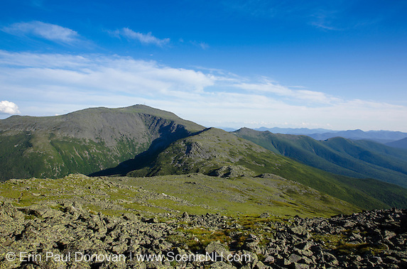Photos showing the forgotten White Mountains. Mount Washington from the summit of Mount Jefferson in the White Mountains, New Hampshire USA  during the summer months.