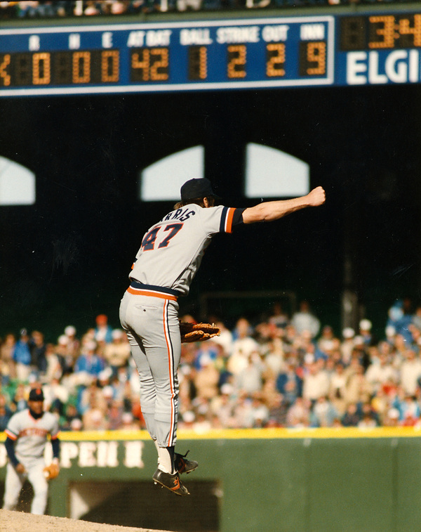 CHICAGO - APRIL 7: Jack Morris #47 of the Detroit Tigers reacts after striking out Ron Kittle #42 of the Chicago White Sox for the final out as Morris pitched a no-hitter against the Chicago White Sox on April 7, 1984 at Comiskey Park in Chicago, Illinois. (Photo by Ron Vesely/MLB Photos via Getty Images) *** Local Caption *** Jack Morris; Ron Kittle (Ron Vesely/Getty Images)