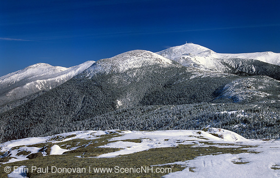 Appalachian Trail ... Mount Eisenhower (center); Mount Washington(right) and Mount Jefferson(left) during the winter months from near the summit of Mount Pierce. Located in the White Mountains, New Hampshire.