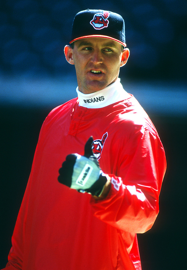 CLEVELAND - UNDATED: Jim Thome #25 of the Cleveland Indians looks on during batting practice prior to an MLB game at Jacobs Field in Cleveland, Ohio. Thome played for the Indians from 1991-2002. (Photo by Ron Vesely) (Ron Vesely)