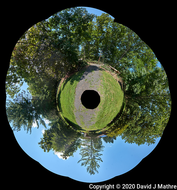 Tropical Storm Isaias Aftermath. Little Planet View of my Front Yard after the Tree Crews Cleared the Downed Oak Trees. Composite of 27 images taken with a Leica CL camera and 18 mm f/2.8 lens (DAVID J MATHRE)