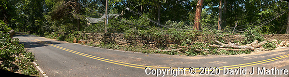 Tropical Storm Isaias Aftermath Day 2 -- Post Tree Clearing. Rock Wall on the other side of Grandview Road. Composite of  4 images taken with a Leica CL camera and 18 mm f/2.8 lens (DAVID J MATHRE)
