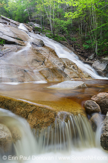 """The """"other"""" Pitcher Falls, located on the South Fork of the Hancock Branch in the White Mountains, New Hampshire USA during the spring months."""