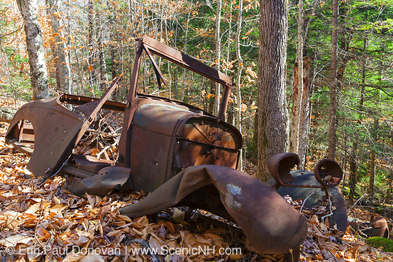 Rusted car in the Eastman Brook drainage of Thornton, New Hampshire.