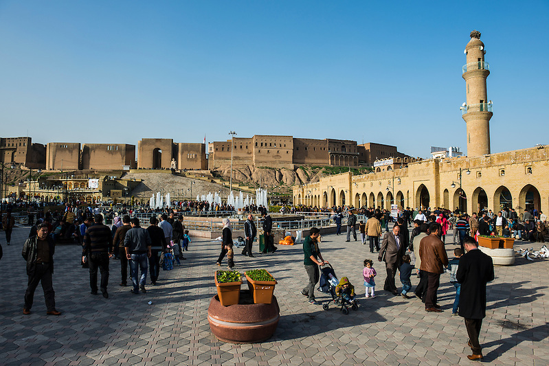 Huge square with water fountains below the citadel of Erbil or Hawler, capital of Iraq Kurdistan (Michael Runkel)
