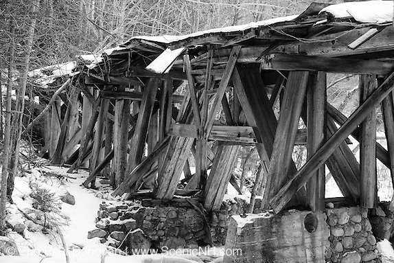 Pemigewasset Wilderness - Timber Trestle 16  (Black Brook Trestle) along the old East Branch & Lincoln Railroad in Lincoln, New Hampshire just pass the old Camp 16 location. This was a logging railroad which operated from 1893 - 1948.
