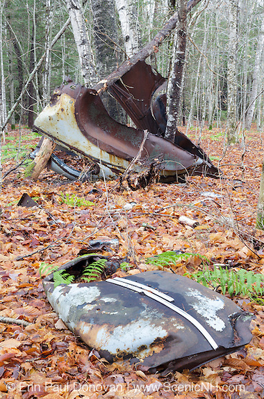 Abandoned car at the site of the old North Woodstock Civilian Conservation Corps Camp in North Woodstock, New Hampshire.