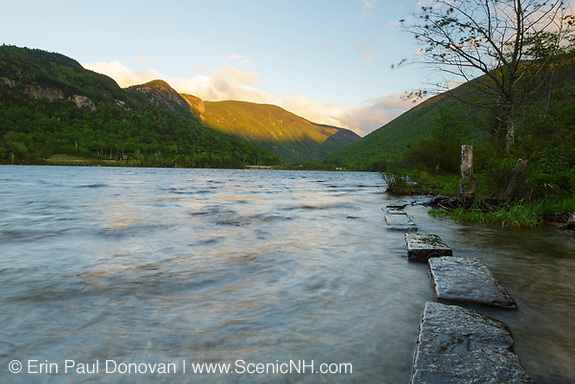 Franconia Notch State Park - Echo Lake during the spring months in the White Mountains, New Hampshire.