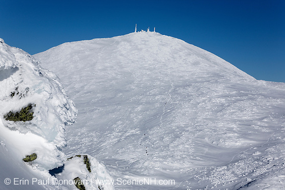 Presidential Range - Winter hikers use the Crawford Path (Appalachian Trail) to ascend Mount Washington in the New Hampshire White Mountains.