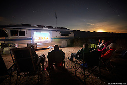Full-time RV (recreational vehicle) dwellers meet up for a soup pot luck and an outdoor movie while camping off the grid in Anza Borrego State Park, California. (Seth K Hughes)