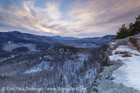 Cloudy sunset from an outlook along the Boulder Loop Trail in Albany, New Hampshire USA. which is part of the White Mountains. Mount Chocorua is in the distance.