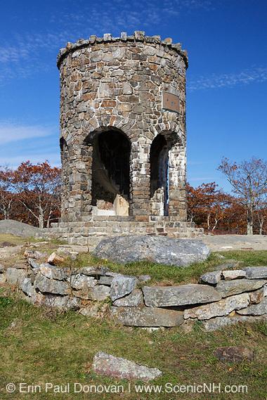 Mt. Battie Tower on the summit of Mt. Battie in Camden Hills State Park in Camden, Maine USA during the month of November.
