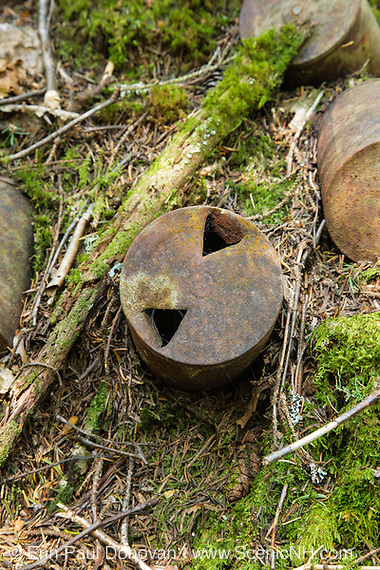 Artifacts at Camp 24B which was a logging camp located along the Cedar Brook branch of the East Branch & Lincoln Railroad in the Pemigewasset Wilderness of Lincoln, New Hampshire. This was a logging Railroad which operated from 1893-1948.