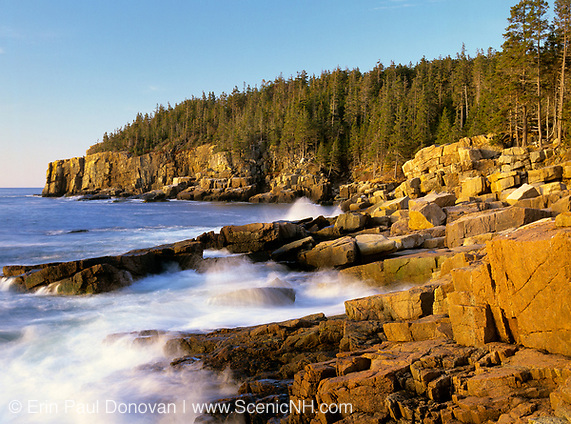 Acadia National Park located on Mount Desert Island, Maine USA. Otter Cliff is off in the distance.