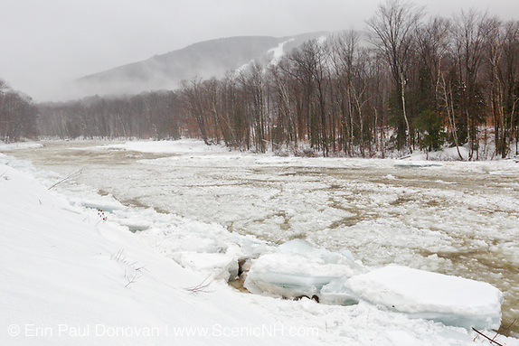Ice flowing down the East Branch of the Pemigewasset River in Lincoln, New Hampshire.