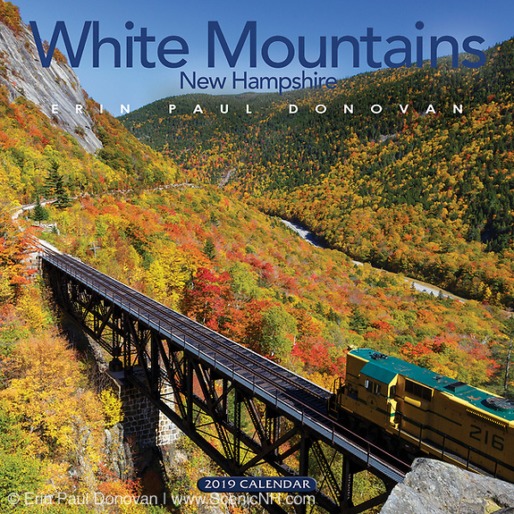 Front cover of the 2019 scenic White Mountains, New Hampshire wall calendar by Erin Paul Donovan.