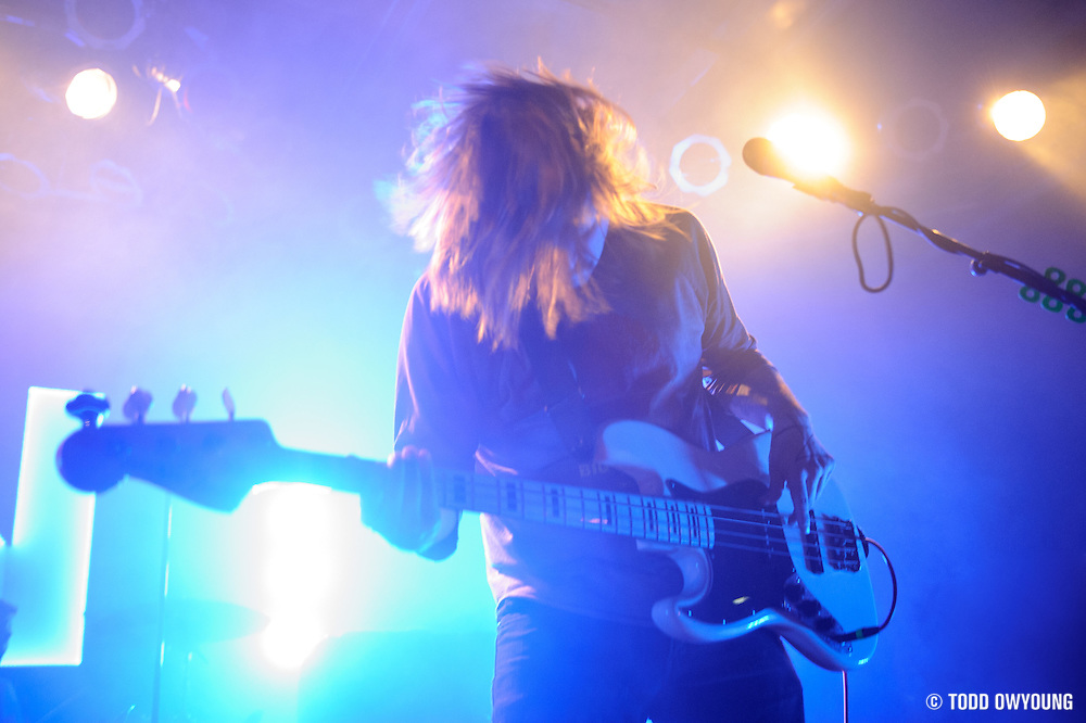Bassist David Amezcua performing with Awolnation at Pop's in Sauget, IL on January 21, 2012. (Todd Owyoung)