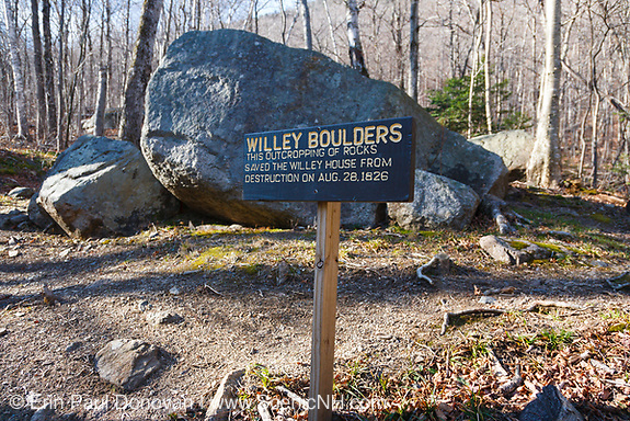 August history, Willey Boulders in Crawford Notch State Park in Hart's Location, New Hampshire. These boulders saved the Willey House from destruction on August 28, 1826 when a massive landslide came down Mount Willey.