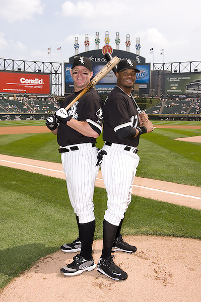 CHICAGO - AUGUST 23:  Jim Thome #25 and Ken Griffey Jr. #17 of the Chicago White Sox pose together for a portrait prior to the game against the Tampa Bay Rays at U.S. Cellular Field in Chicago, Illinois on August 23, 2008.  With 1152 home runs hit between the them in the major leagues, it was a rare opportunity to photograph two players on the same team with that many home runs between them.  (Photo by Ron Vesely) (Ron Vesely)