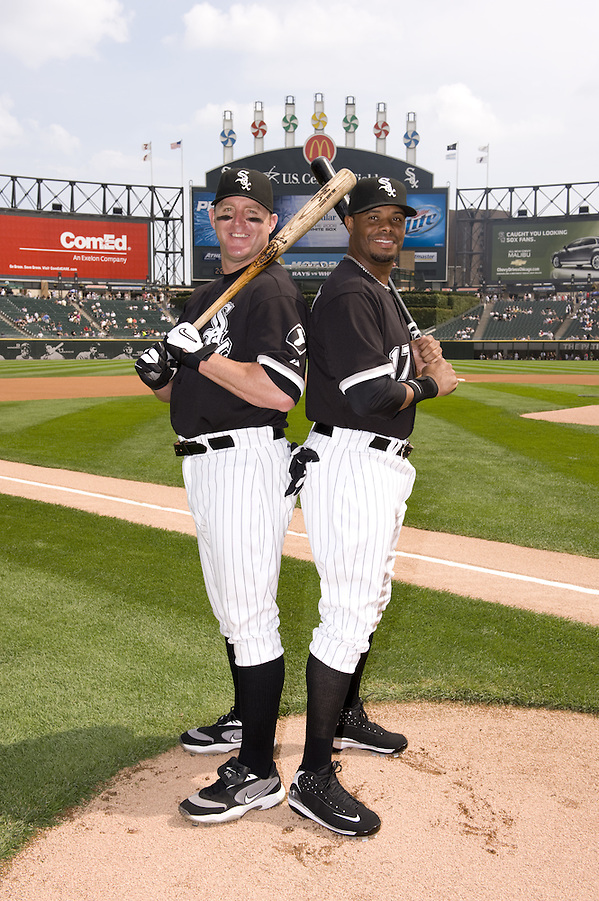 CHICAGO - AUGSUT 23: Jim Thome #25 and Ken Griffey Jr. #17 of the Chicago White Sox pose together for a portrait prior to the game against the Tampa Bay Rays at U.S. Cellular Field in Chicago, Illinois on August 23, 2008. With 1152 home runs hit between the them in the major leagues, it was a rare opportunity to photograph two players on the same team with that many home runs between them. (Photo by Ron Vesely) (Ron Vesely)