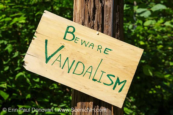 Beware of Vandalism sign in New Hampshire.