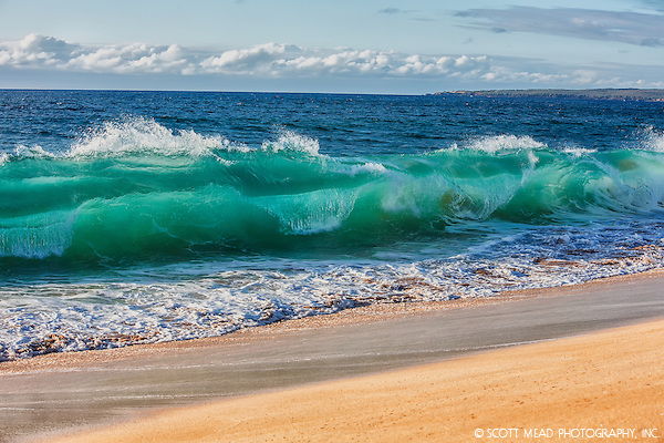 Aqua Crush - Big wave curling onto Papohaku Beach on Molokai, Hawaii (Scott Mead)