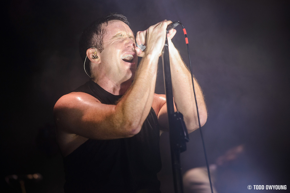 Trent Reznor and NIN performing on the Tension Tour 2013 at the Chaifetz Arena in Saint Louis, MO on October 1, 2013. (Todd Owyoung)