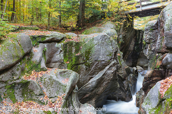 Sculptured Rocks Natural Area in Groton, New Hampshire USA during the autumn months. This gorge was shaped during the Great Ice Age.