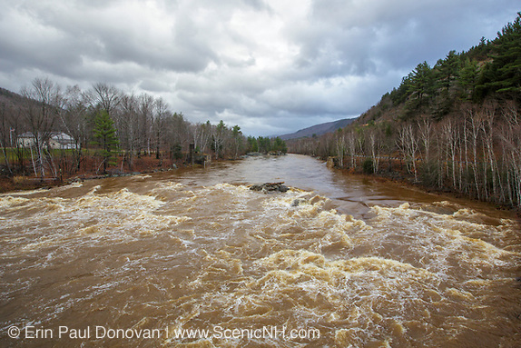The Pemigewasset River in Woodstock, New Hampshire USA after hours of heavy rains and strong winds from Hurricane Sandy. Hurricane Sandy caused massive destruction along the east coast.