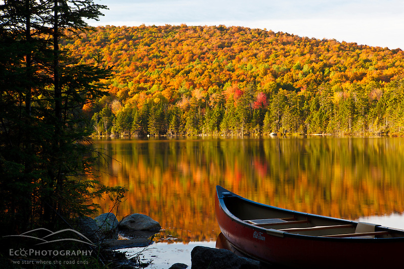 A canoe on the shoreline of Pond of Safety in the Randolph Community Forest. in New Hampshire's White Mountains. (Jerry and Marcy Monkman)