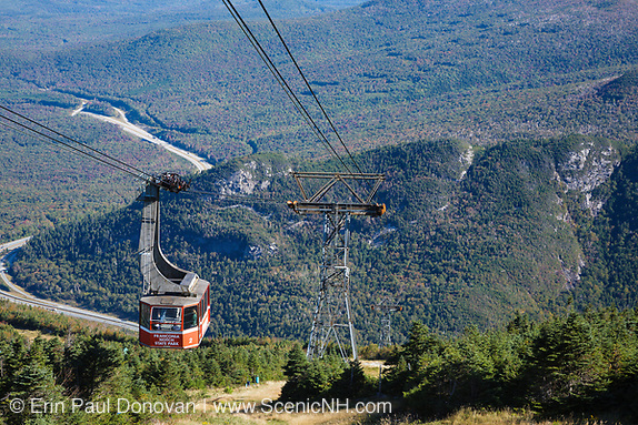 Cannon Mountain Aerial Tramway at the summit of Cannon Mountain in Franconia Notch State Park of the New Hampshire White Mountains.