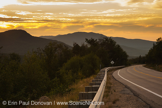 Sunrise along the Kancamagus Highway (route 112), which is one of New England's scenic byways located in the White Mountains, New Hampshire.