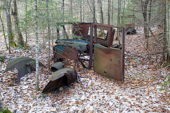 Abandoned car in the Tunnel Brook drainage of Benton, New Hampshire USA. This is possibly a 1926 Dodge coupe.
